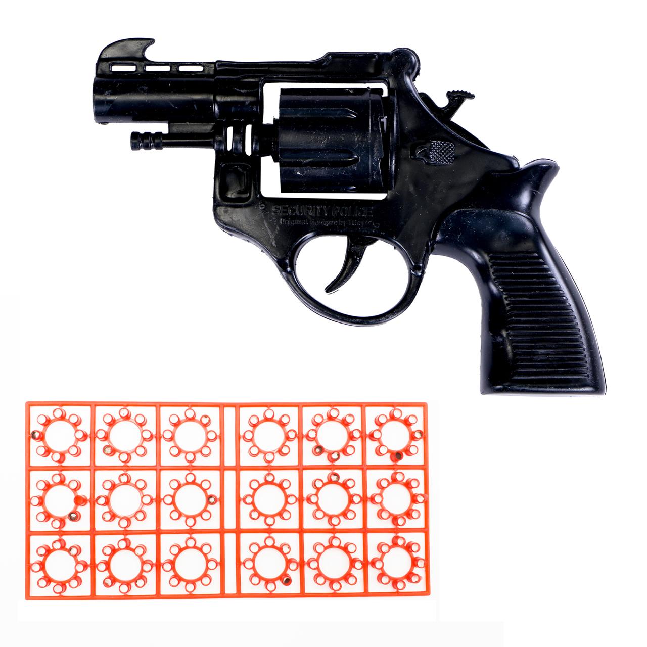 عکس تفنگ اسباب بازی مدل ترقه ای به همراه یک بسته تیر